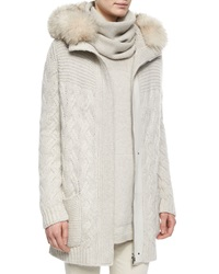 Loro Piana Montgomery Fur Trimmed Cashmere Cable Knit Cardigan
