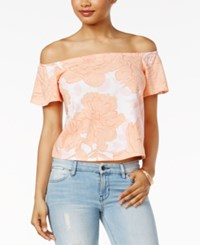 Guess Amore Printed Off The Shoulder Top Mod Poppy True White