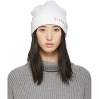 Givenchy Off White Embroidered Logo Beanie