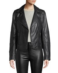 Cupcakes And Cashmere Leather Zip Front Moto Jacket Black
