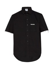 Vetements Logo Embroidered Cotton Shirt Black