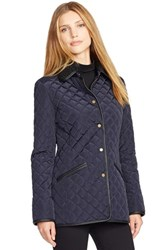 Women's Lauren Ralph Lauren Faux Leather And Shearling Trim Quilted Jacket Dark Navy