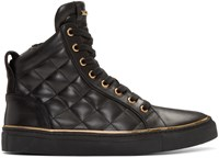 Balmain Black Quilted Leather High Top Sneakers