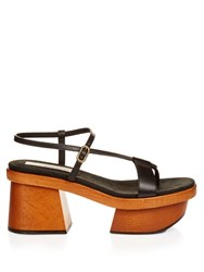 Stella Mccartney Altea Faux Leather Block Heel Platform Sandals Black