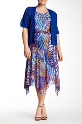 Robbie Bee Printed Handkerchief Dress And Shrug Plus Size Multi