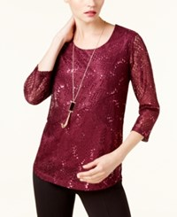Jm Collection Petite Lace Top With Necklace Created For Macy's Bright Sapphire