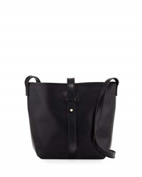 Neiman Marcus Structured Crossbody Bucket Bag Black