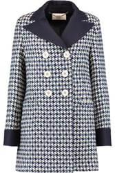 Goat Channing Houndstooth Wool Blend Coat Blue
