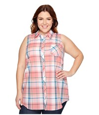 Roper Plus Size 0859 Coral Plaid Shirt Red Women's Sleeveless