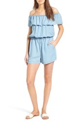 Splendid Women's Off The Shoulder Chambray Romper Light Wash