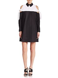 Peserico Wynn Cold Shoulder Colorblock Dress Black White