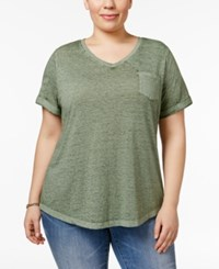 Style And Co Co. Plus Size Burnout T Shirt Only At Macy's Olive Sprig