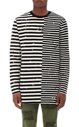 Off White C O Virgil Abloh Men's Mixed Stripe Cotton Distressed T Shirt Black