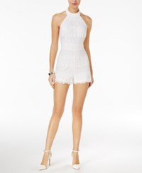 Guess Lexie Lace Halter Romper True White