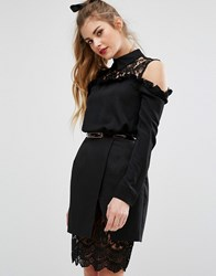 Fashion Union Lace Panel Shirt With Collar Black