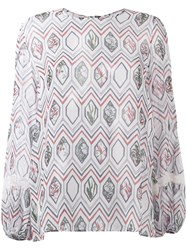 Giambattista Valli Geometric Print Blouse Women Silk Nylon Viscose 42 White
