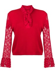 Christopher Kane Lace Trim Cardigan Red
