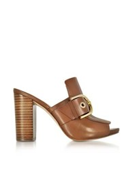 Michael Kors Copper Luggage Nappa Leather Mules Brown