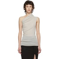 Rick Owens Off White One Shoulder Tank Top