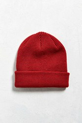 Urban Outfitters Uo Waffle Beanie Red