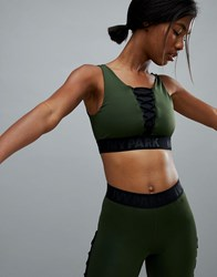 Ivy Park Active Lace Up Bra In Khaki Pine Green