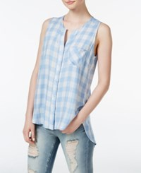 Stoosh Juniors' Windowpane Pattern Button Front Blouse Sky Blue