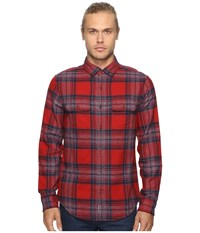 Original Penguin Long Sleeve Twisted Yarn Flannel Woven Shirt Red Dahlia Men's Long Sleeve Button Up