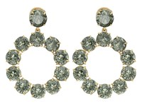 Tory Burch Stone Wreath Drop Earrings Smoke Vintage Gold Earring Green