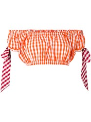 House Of Holland Gingham Crop Top Women Cotton Polyester 6 Yellow Orange