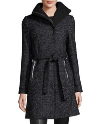 T Tahari Eva Asymmetric Zip Tweed Coat Black Pattern