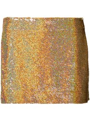 Ashish Sequin Mini Skirt Women Silk S Yellow Orange