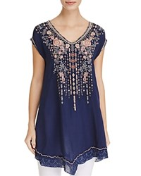 Johnny Was Rubina Embroidered Tunic Blue Night