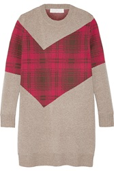 Thakoon Addition Tartan Paneled Knitted Sweater