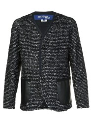 Junya Watanabe Comme Des Garcons Man Collarless Knitted Blazer Black