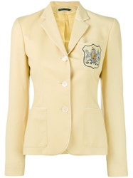 Ralph Lauren Embroidered Emblem Blazer Women Viscose Wool 4 Yellow Orange