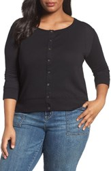 Three Dots Plus Size Women's Lightweight Cardigan Black