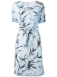 Blumarine Printed Belted Dress Blue
