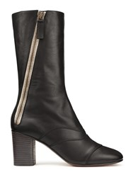 Chloe Lexie Zippered Leather Mid Calf Boots Black