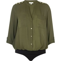 River Island Womens Khaki Military Blouse Bodysuit