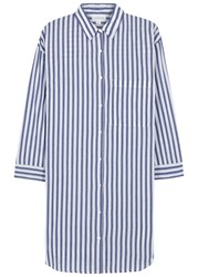 Velvet By Graham And Spencer Ivy Striped Cotton Shirt Dress Blue