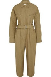 Iro Woman Belted Cropped Linen And Cotton Blend Canvas Jumpsuit Sand