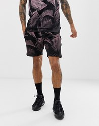 D Struct Gradient Palm Print Mix N Match Shorts Black
