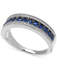Macy's Sapphire 5 8 Ct. T.W. And White Diamond 1 8 Ct. T.W. Band In Sterling Silver
