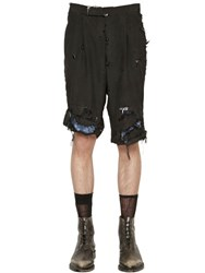 Thom Browne Destroyed Wool And Mohair Bermuda Shorts