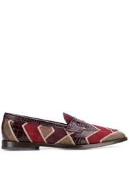 Etro Colour Block Loafers Red