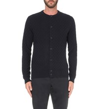 Reiss Thompson Knitted Cotton Cardigan Navy