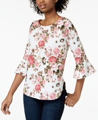 Amy Byer Bcx Juniors' Printed Bell Sleeve Top Pat F