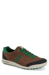 Ecco Men's 'Street' Golf Shoe Birch Black Green Leather