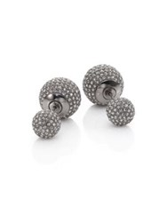 Adriana Orsini Decadence Pave Crystal Ball Two Sided Earrings Gunmetal Tone Silver
