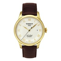 Tissot T41541373 Men's Le Locle Date Leather Strap Watch Brown Silver